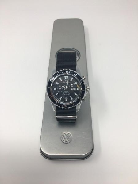 Armband-Uhr 44mm Herren 3-Zeiger schwarz