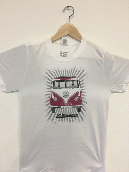 VW T1 Bus T-Shirt Unisex Rot/Weiß Gr.S