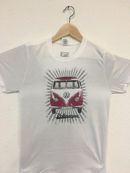 VW T1 Bus T-Shirt Unisex Rot/Weiß Gr.L